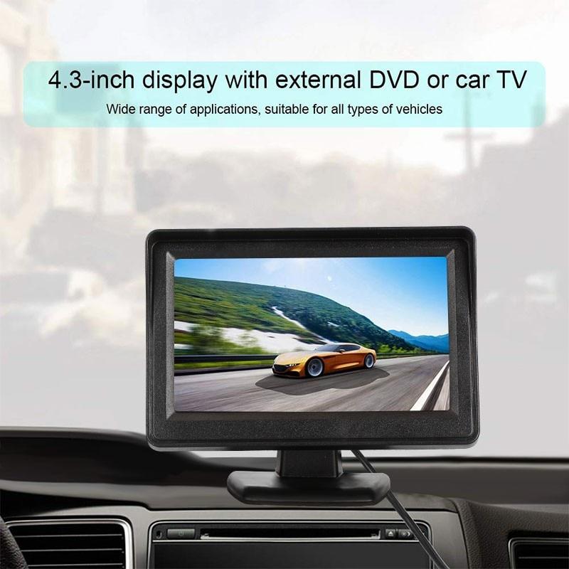 Автомобильный видеоплеер 4,3 дюйма, автомобильные мониторы для камеры заднего вида, 2-канальный видеопроигрыватель с ЖК-экраном TFT, Full HD, мони...