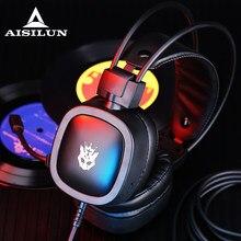 Profissional led luz gamer fones de ouvido para jogos de computador fones de ouvido estéreo baixo ajustável pc com fio fone de ouvido com microfone presentes