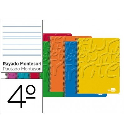SPIRAL NOTEBOOK LEADERPAPER ROOM WRITE SOFTCOVER 80H 60 GR STRIPED MONTESSORI 3,5 MM ASSORTED COLORS