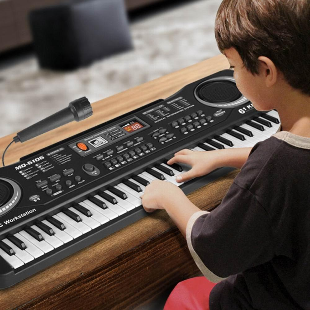 New Toy Musical Instrument 61-key Children's Electronic Piano With Microphone Children Learning Educational Toy Gift
