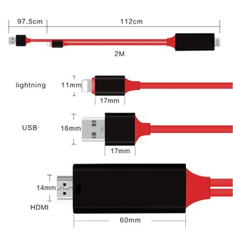 kphrtek 1080p Lightning to HDMI HDTV AV Adapter Cable Cord For iPhone 5/6/7/8/X/Xs