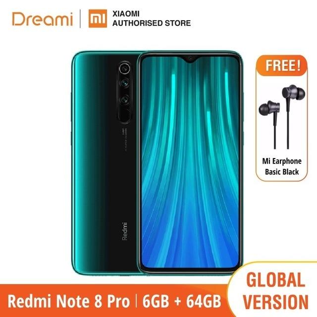 الإصدار العالمي شاومي ريدمي نوت 8 برو 64 جيجابايت روم 6 جيجابايت رام (العلامة التجارية الجديدة/مختومة) ، نوت 8 برو الهاتف الذكي المحمول