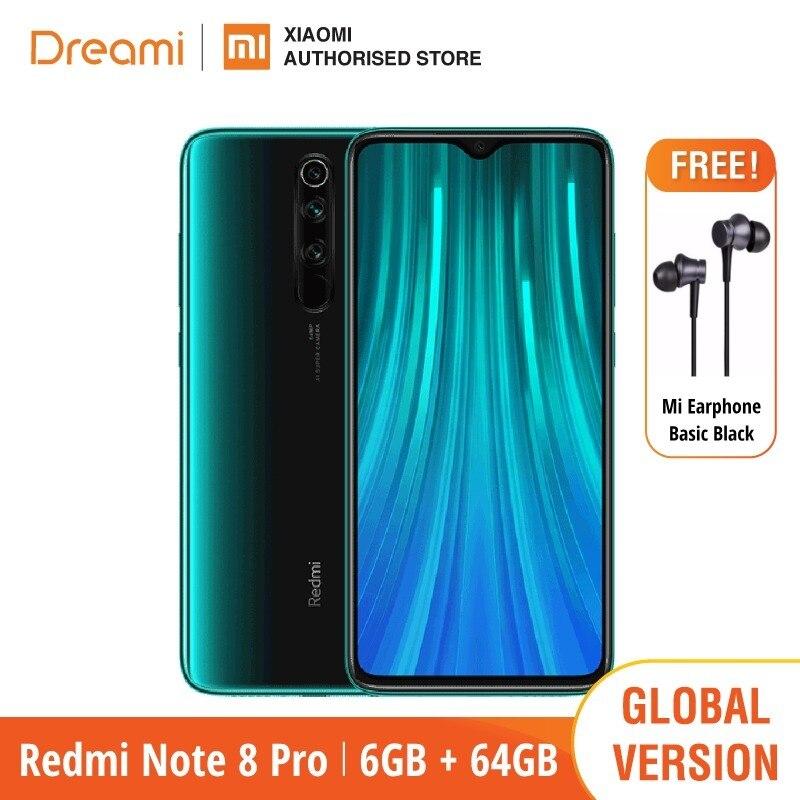 Global Version Xiaomi Redmi Note 8 PRO 64GB ROM 6GB RAM (Brand New / Sealed), note8 pro Smartphone Mobile