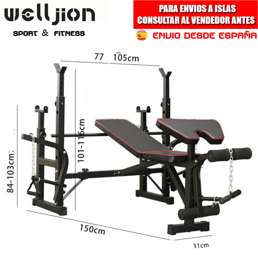 MUSCULATION BENCH, WITH RACK, ADJUSTABLE, MULTIFUNCTIONAL, FOR BENCH PRESS, SQUAT, ABDOMINAL, GYM, SHIPPING FROM SPAIN