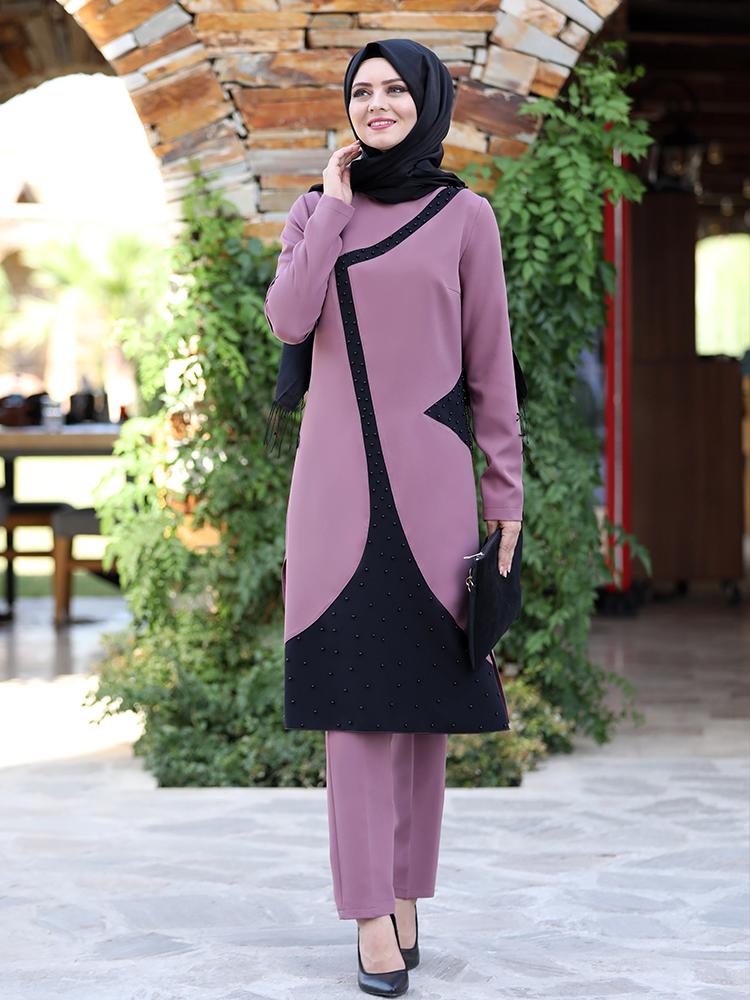 Women Suit New Season Muslim Tunic Trousers Double Combination Crepe Fabric High Quality Islamic Clothing Mosanisa Turkey Dubai