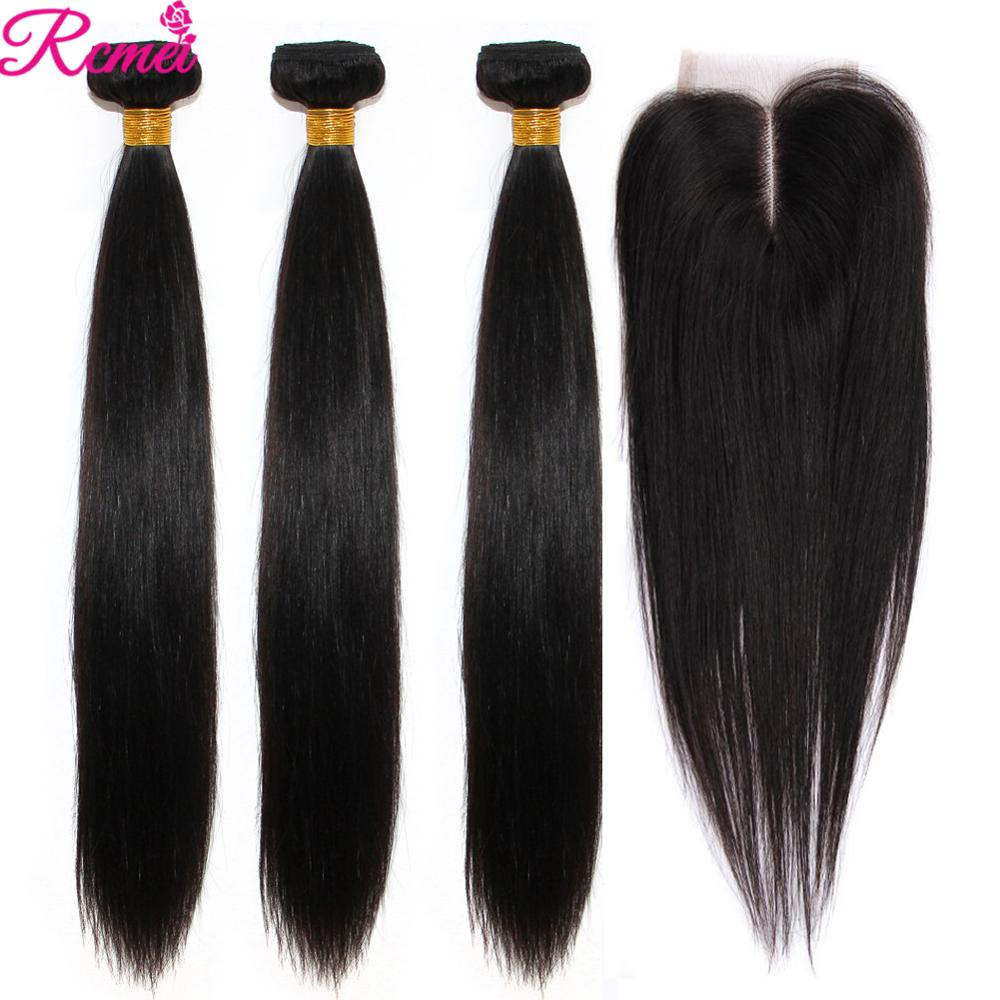 Brazilian Straight Human Hair Weave Bundles with Closure 3 Bundles With Lace Closure 4*4 Remy Human Hair Bundles Extensions-in 3/4 Bundles with Closure from Hair Extensions & Wigs
