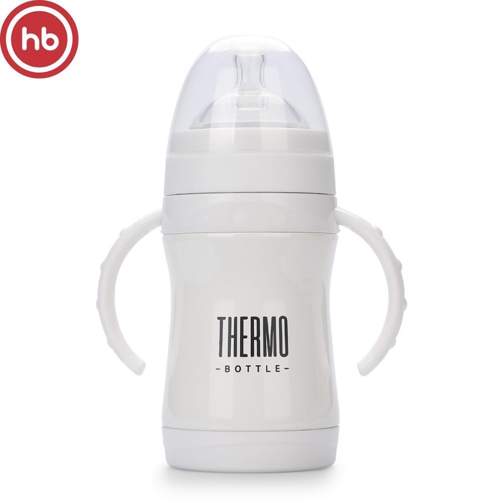 Термобутылочка  Happy Baby с ручками,  силиконовой соской и соской-поильником, 280 мл. 10022