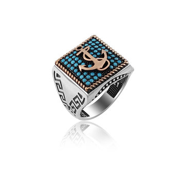 Original Hot Sale New 925 Silver Greek Turquoise Seamen Mens Ring for English Anchor Sailor Ring Navy Anchor Nautical Rings