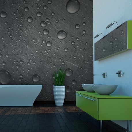 Photo Wallpaper-To Steel Surface With Water Drops