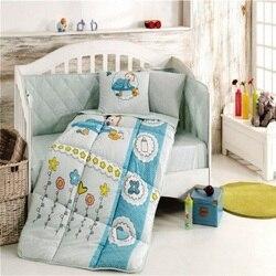 Сделано в Турции сад Младенческая Детская кроватка постельное белье-Бампер Набор для мальчиков и девочек детская кроватка с мультяшными жи...