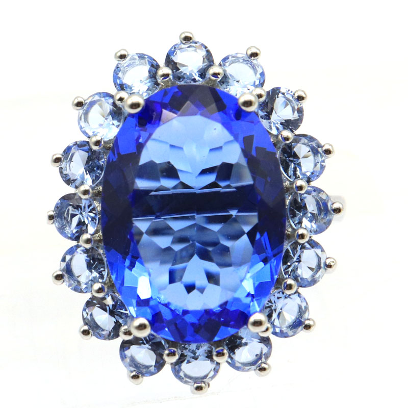 24x20mm Deluxe Created 18x13mm Rich Blue Violet Tanzanite Smokey Topaz Gift For Ladies Silver Rings