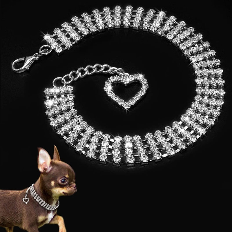Stonefans Exquisite Bling Rhinestone <font><b>Dog</b></font> Collar Choker Jewelry Crystal Heart Pendant Necklace for Pet <font><b>Cat</b></font> Little <font><b>Dogs</b></font> <font><b>Jewellery</b></font> Accessories image
