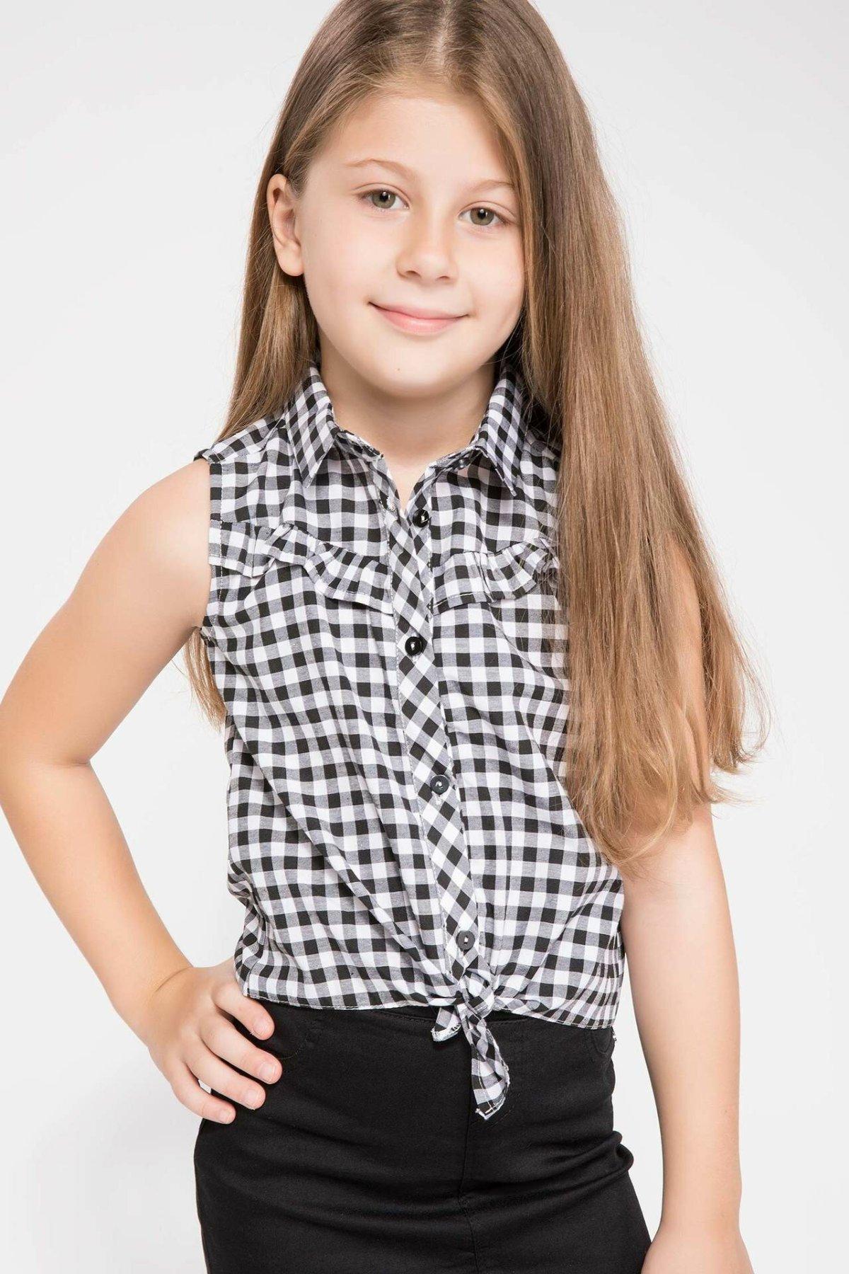 DeFacto Sleeveless White Black Plaid Girl Shirts Classical Woven Ball Kids Turn-down Colar Bowtie Shirt K2105A618HSBK46-K2105A618HS