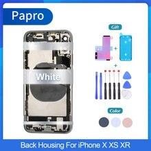Oem volta habitação para iphone x xr xsmax bateria capa quadro do chassi médio com peças chaves laterais cabo flexível nfc conjunto completo