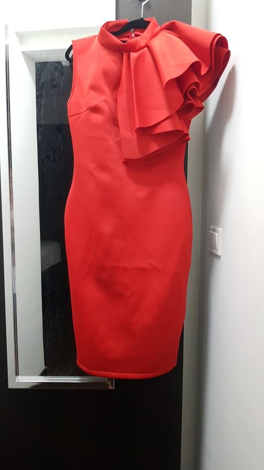 Summer Women Celebrity Runway Party Dress Vestido Sexy White Red Sleeveless Ruffles Bodycon Midi Night Club Dress photo review