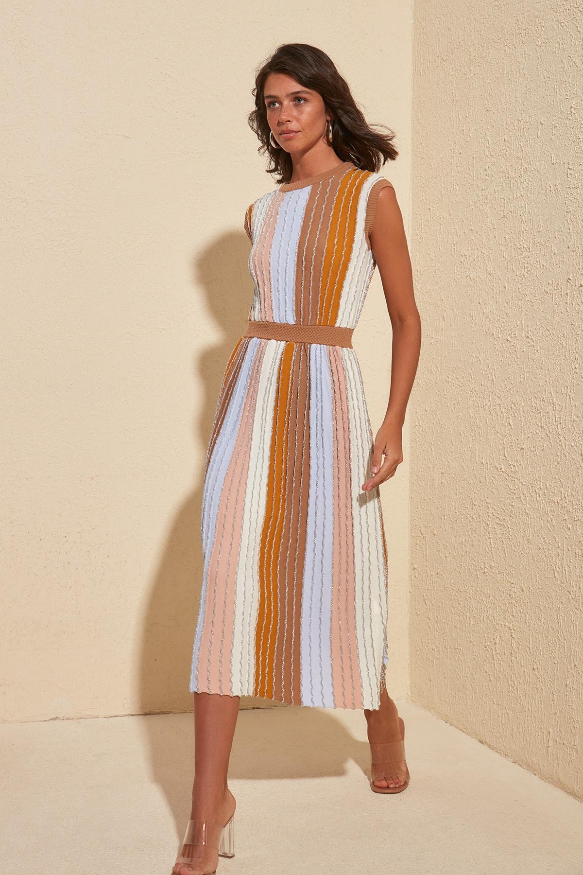 Trendyol Silvery Stripe Dress TWOSS20EL1799