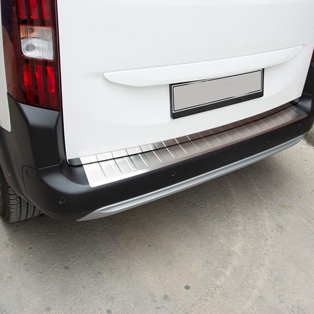 For Peugeot Rifter Chrome Rear Bumper Sill.Stone 2019 and Up. Stainless steel. ISO9001 / 2008 A + Quality Modified Design