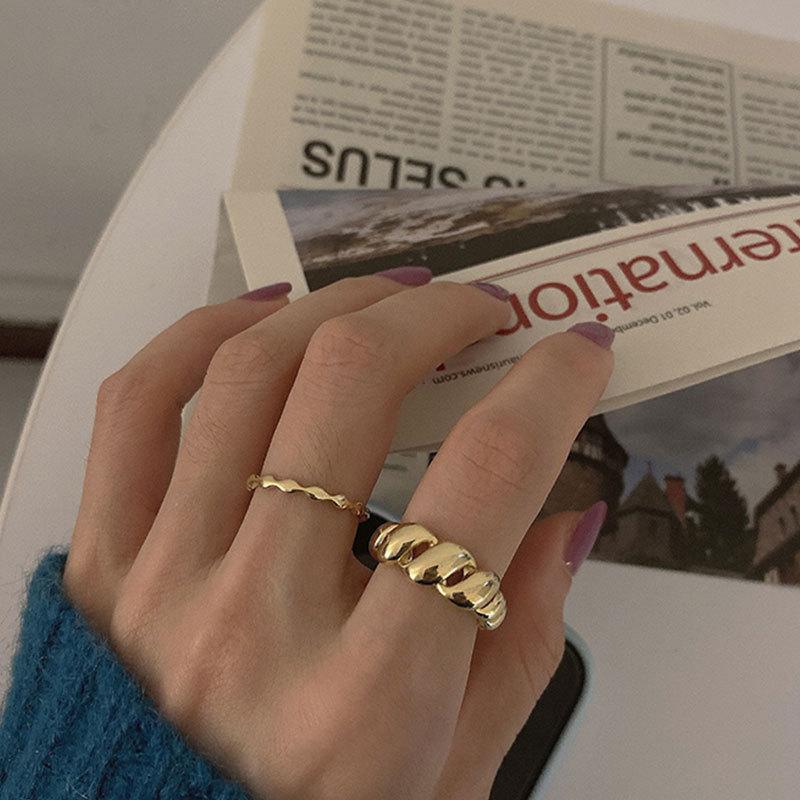 Женское Винтажное кольцо с круассанами, винтажное регулируемое кольцо из нержавеющей стали золотого цвета с геометрической нитью, бижутер...