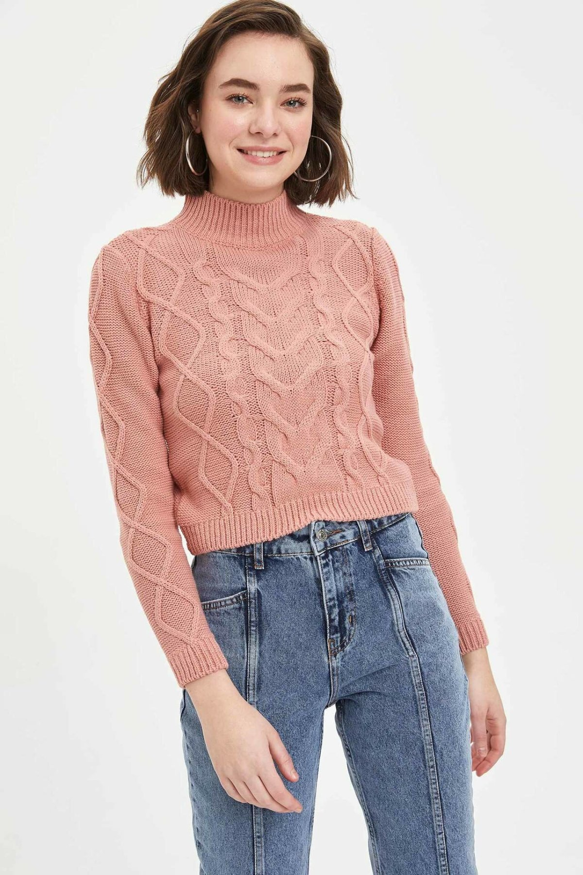 DeFacto Woman Winter Pink Pullover Women Casual Knitted Pullover Female O-neck Warm Pullovers Women Tops-L3986AZ19WN