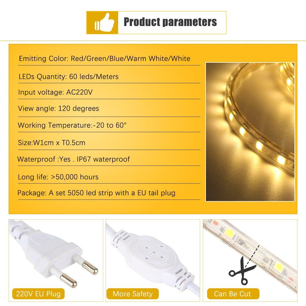 U575ed6a1c1164341b00439fd829ec3cfX Waterproof SMD 5050 led tape AC220V flexible led strip 60 leds/Meter outdoor garden lighting with EU plug светодиодная лента