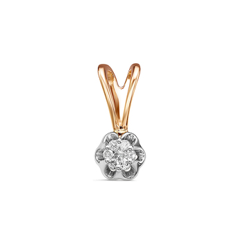 Золотая подвеска 585 пробы с камнями: Бриллиант