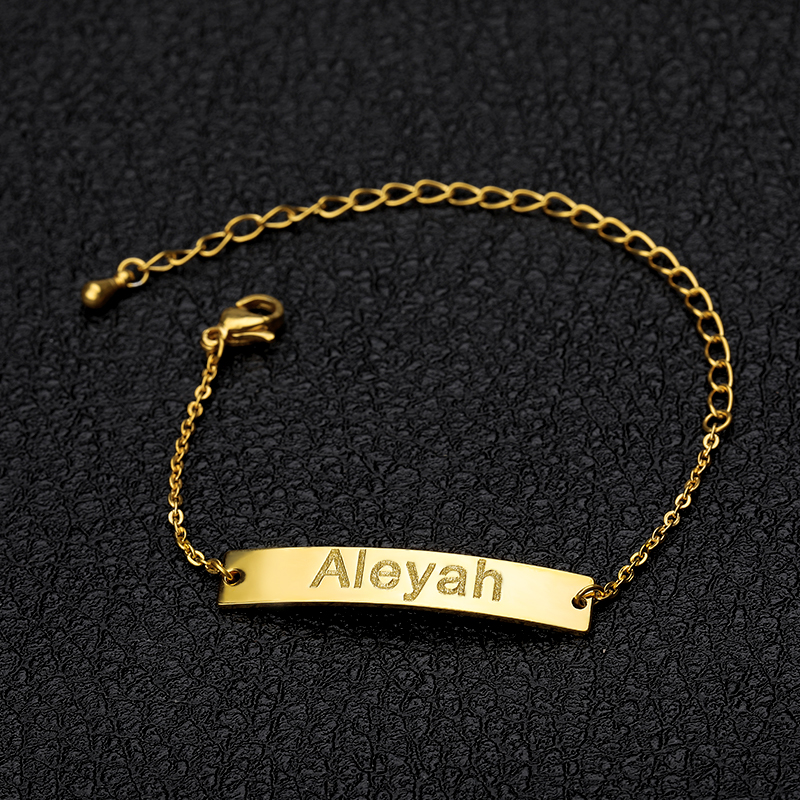 Custom Baby Name Bracelet Silver Gold Chain Stainless Steel Customized Baby Girl Bracelet Personalized Baby Boy Gift BFF