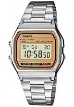 Оптическими зумом Casio коллекция цифровые часы A158WEA-9CF циферблат с позолотой стальной ремешок