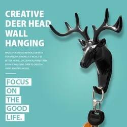 Creative Deer Head Wall Hanging Hook Vintage Deer Head Antlers for Clothes Hat Scarf Key Deer Hanger Rack Wall Christmas decorat