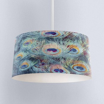 Else Green Blue Yellow Peacock Feathers Digital Printed Fabric Chandelier Lamp Drum Lampshade Floor Ceiling Pendant Light Shade