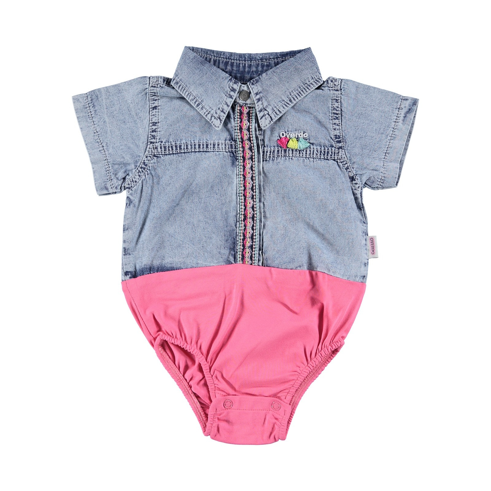 Ebebek Overdo Baby Girl Short Sleeve Embroidered Shirt Bodysuit