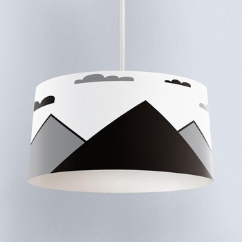 Else Black Gray Mountains Clouds Scandinavian Print Fabric Kids Chandelier Lamp Drum Lampshade Floor Ceiling Pendant Light Shade