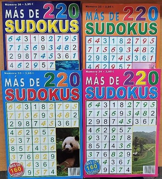 SUDOKU. Lot of 4 volumes with more than 220 Sudokus each with 4 difficulty levels. Lot of 4 volumes of SUDOKUS for all. puzzle therapist estas avisado sudokus dificiles para genios