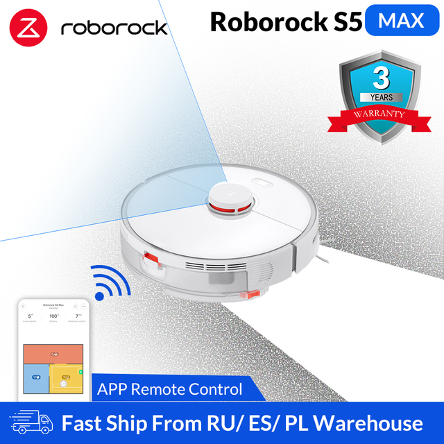 Roborock S5 Max Robot Vacuum Cleaner Smart Sweeping Cleaning Electric Mop Upgrade of S50 S55 Home Carpet Dust Robotic Collector 1