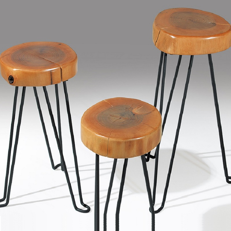 Natural Formed Original Genuine Walnut Wooden Black Painted Leg COFFEE TABLE Triple SET
