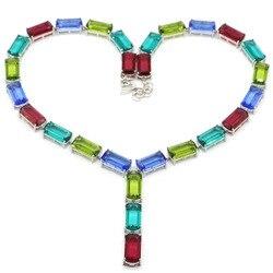 54x8mm multicolore créé Tanzanite péridot grenat aigue-marine vêtements quotidiens colliers en argent 18-19 pouces