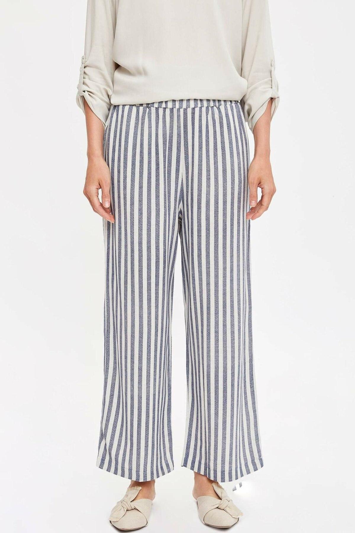 DeFacto Women Fashion Trousers Female Casual Comfort Pants High Qualilty Striped Loose Wide Leg Pant Ladies -M0402AZ19SM