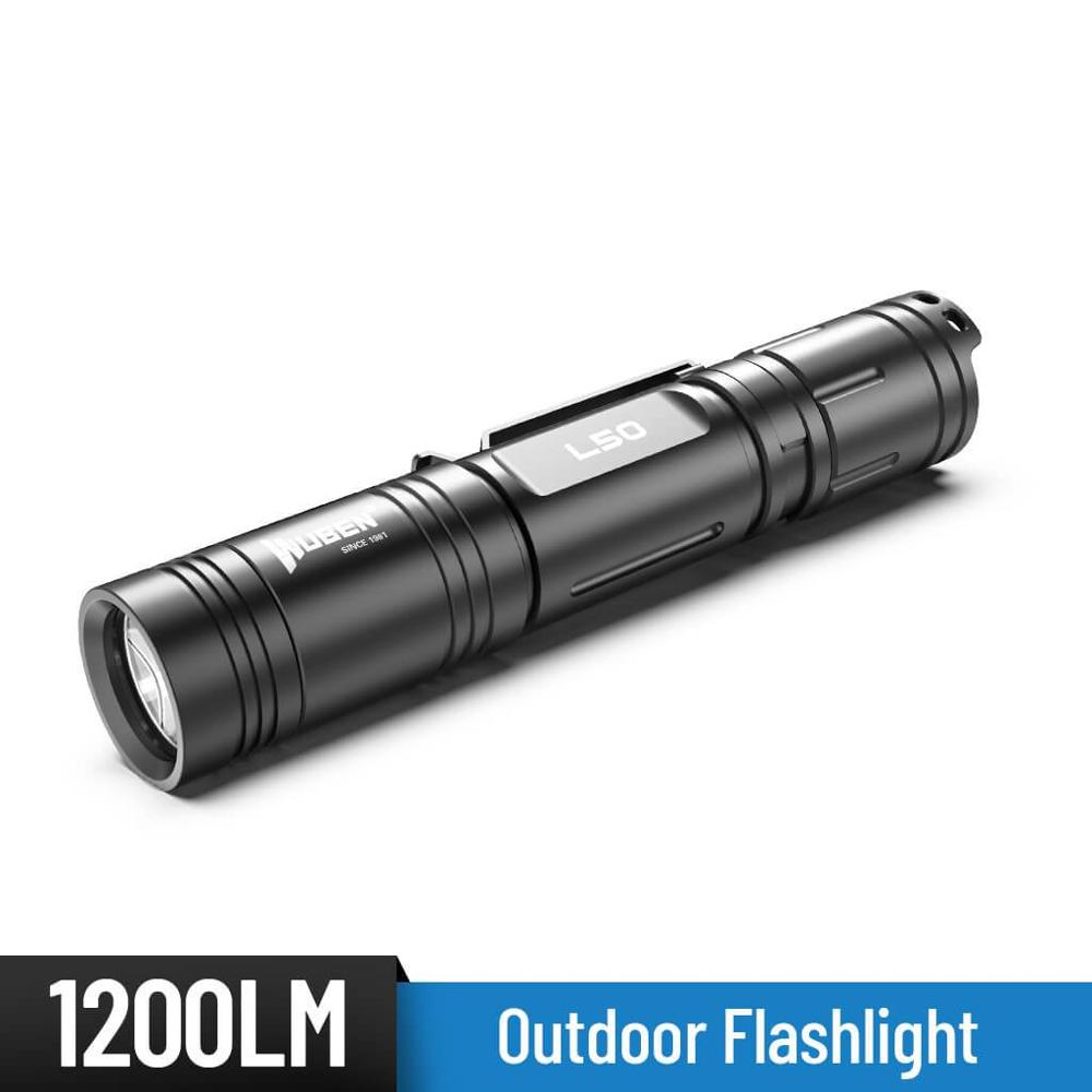 WUBEN L50 LED <font><b>Flashlight</b></font> <font><b>USB</b></font> Rechargeable High Power 1200 Lumens Portable IP68 Waterproof Camping lantern 5 Modes 18650 Battery image