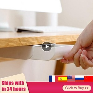 Hidden Table Under Paste Plastic Desk Organizer Memo Pen Stationery Storage Box Case Desk Drawer Divider Stationery Sticky Decor(China)