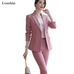 Lenespín de alta calidad conjunto de 2 piezas a cuadros traje de pantalón Formal Blazer Oficina señora diseños mujer chaqueta suave y pantalón hasta el tobillo