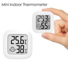 Indoor Mini Digitale Thermometer Lcd-scherm Glimlach Gezicht Hygrometer Draadloze Smart Temperatuur Vochtigheid Sensor Met Batterij