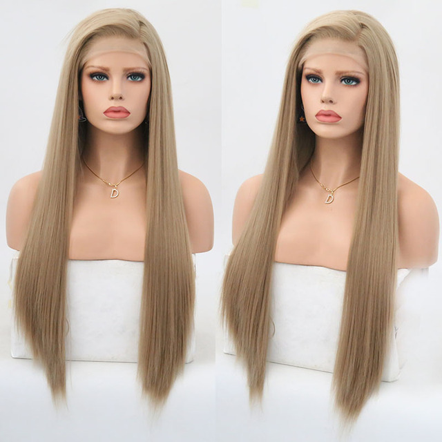 Rongduoyi Long Silky Straight Hair Synthetic Lace Front Wig Ash Blonde Side Part Cosplay Wig Glueless Front Lace Wigs for Women 1