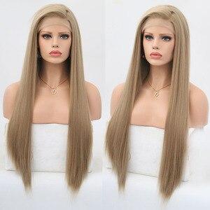 Image 1 - Rongduoyi ארוך משיי ישר שיער אפר בלונד צד חלק פאת קוספליי Glueless חזית תחרת פאות עבור נשים