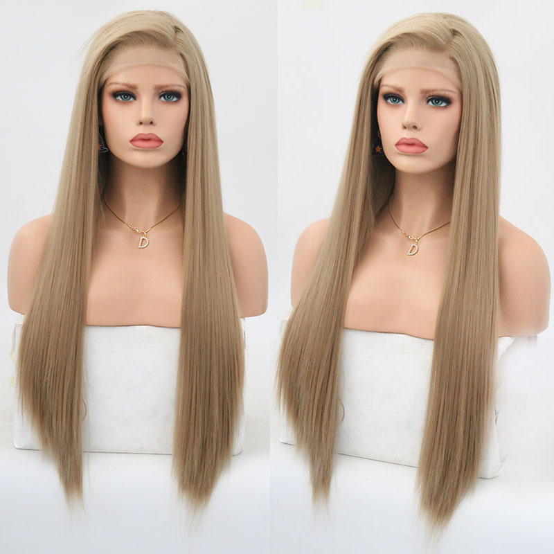 Rongduoyi Long Silky Straight Hair Synthetic Lace Front Wig Ash Blonde Side Part Cosplay Wig Glueless Front Lace Wigs For Women