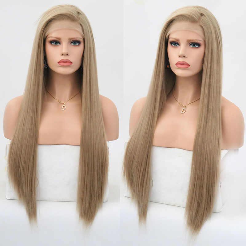 Rongduoyi długie proste jedwabne włosy syntetyczna koronka peruka Front Ash Blonde przedziałek z boku peruka do Cosplay Glueless peruki typu Front Lace dla kobiet