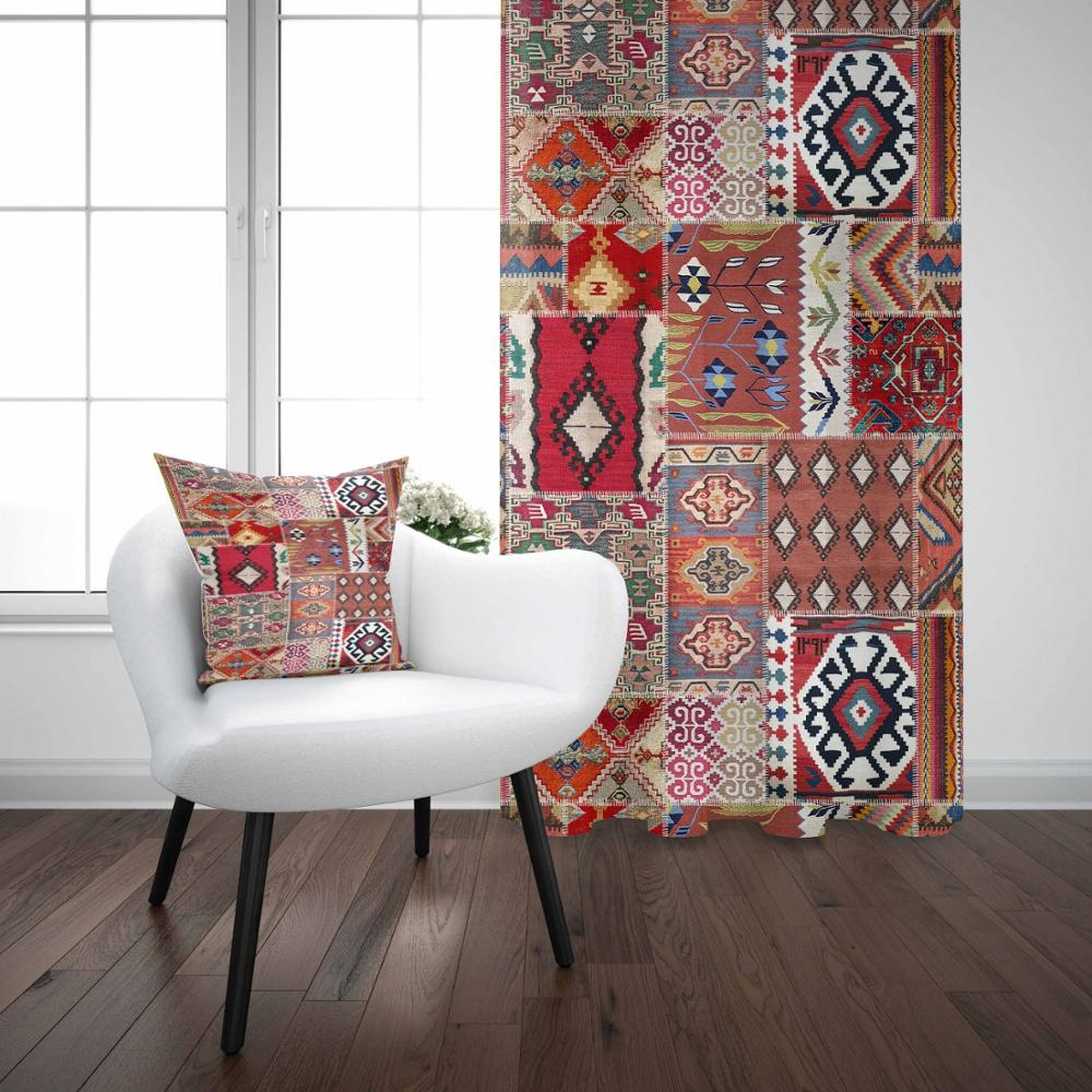 Else Red Blue Authentic Turkish Patchwork Vintage 3D Print Living Room Bedroom Window Panel Curtain Combine Gift Pillow Case Curtains     - title=