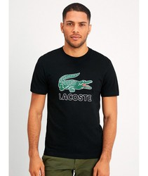 LACOSTE SHIRT WITH LOGO Basic Ts short sleeve for men color black Clothing male BRand Crocodile