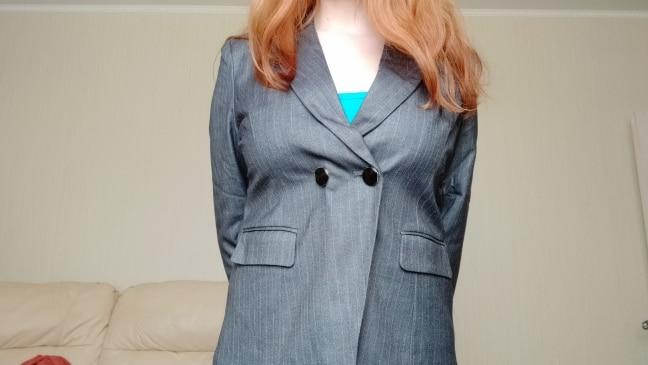 Female Elegant Business Uniform 2 Piece Pant Suits for Ladies Women's Business Office Work Wear Blazers Trouser Sets Gray Stripe reviews №2 23740
