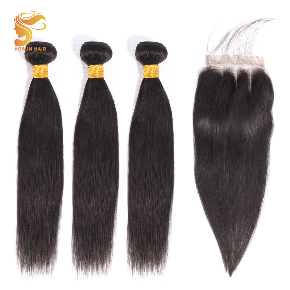 AOSUN HAIR Brazilian Hair Weave Bundles Straight Hair Bundles With Closure 100% Human Hair Extensions Remy Hair 8-26inches