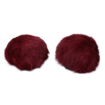 Pompon Made Of Natural Fur (rabbit), D-10cm, 2 Pcs/pack (E Bordeaux)
