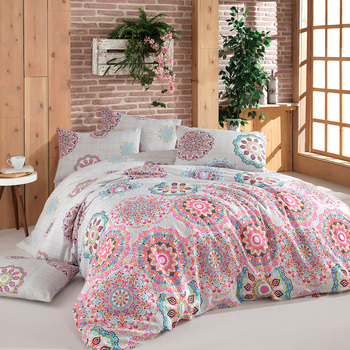 Bed Linen Set Anatolia Printed Solid Bedding Sets Twin/Full/Queen/King Size 3/4/5 pcs Fitted Sheet Rubber Band Duvet Cover Sets 5 sets of 60 pcs 100